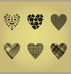 black silhouettes of hearts vector image
