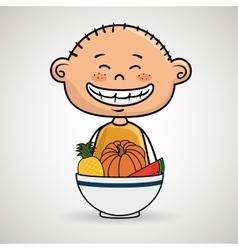 Boy plate fruit vegetables vector