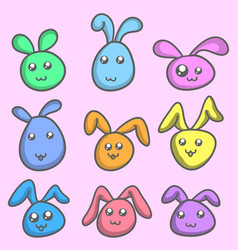 Bunny set colorful collection stock vector