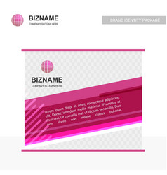 Business banner design with pink theme and world vector