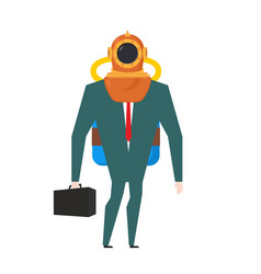 businessman is diver deep-water suit and oxygen vector image