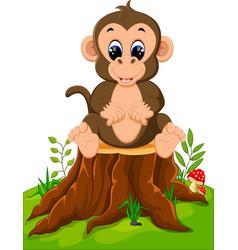 cartoon happy monkey sitting on tree stump vector image