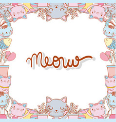 Cats with branches leaves and star background vector
