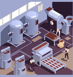 chocolate production facility isometric vector image