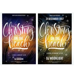 christmas on beach poster vector image