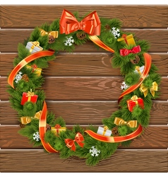 Christmas Wreath on Wooden Board 10 vector image