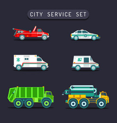 City transport set in flat styletown vector