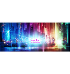 colorful night city background vector image