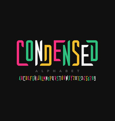 condensed style font alphabet letters and numbers vector image