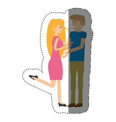 Couple happy romantic shadow vector