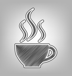 Cup sign with three small streams of smoke vector