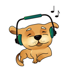 cute dog in headphones vector image