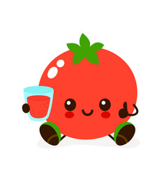 Cute smiling happy tomato with a glass vector
