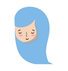 Cute woman head with hairstyle design vector
