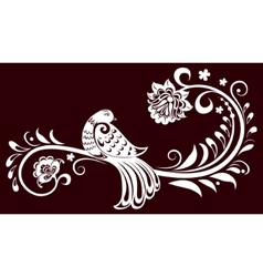 decorative branch with a bird decorative leaves vector image