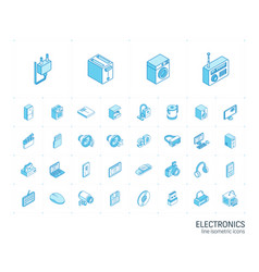 electronics and multimedia isometric line icons vector image