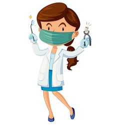 Female dentist with tooth and tools vector