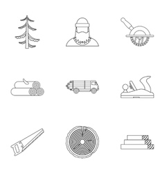 Firewood icons set outline style vector image