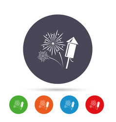 fireworks sign icon explosive pyrotechnic show vector image