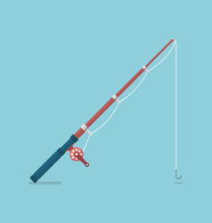 fishing rod in flat style vector image
