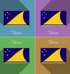 Flags Tokelau Set of colors flat design and long vector image