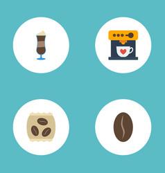 Flat icons arabica bean mocha coffeemaker and vector