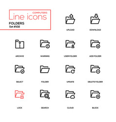 folders - modern line design icons set vector image