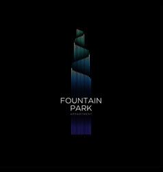 Fountain park logo luxury apartments emblem tower vector