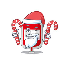 Friendly blood plastic bag dressed in santa vector