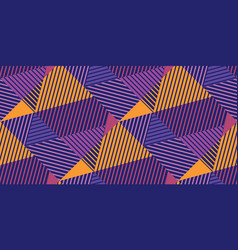 geometric striped and triangles seamless pattern vector image
