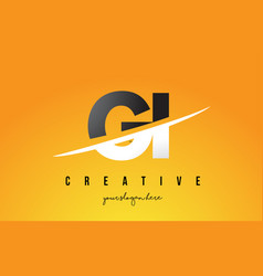 Gi g i letter modern logo design with yellow vector