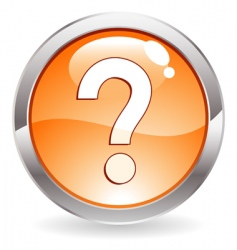 gloss button with question mark vector image