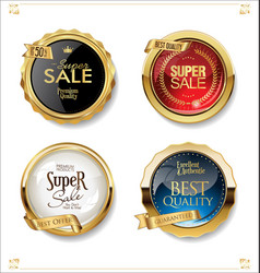 gold and black retro sale badges and labels vector image