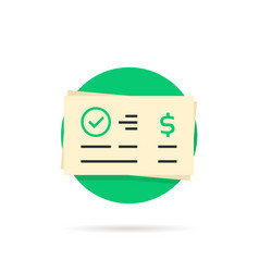 Green round simple money cheque vector