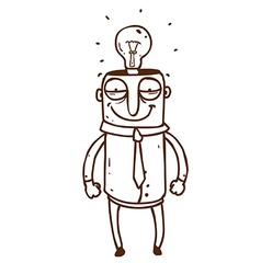 Hand Drawn Man with a Bright Idea vector