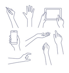 hands line icon editable vector image