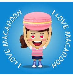 happy woman carrying big pink macaroon or macaron vector image