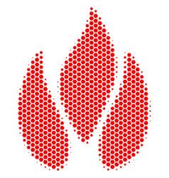 Hexagon halftone fire icon vector