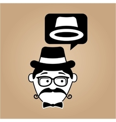 hipster style hat with vintage color background vector image