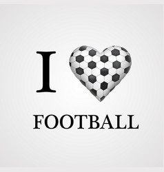 i love football font type with heart sign vector image