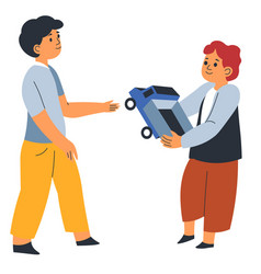 Kid sharing car toy to brother or friend in school vector