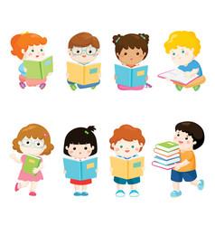 Kids reading books for education set vector