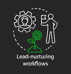 Lead-nurturing workflows chalk concept icon vector