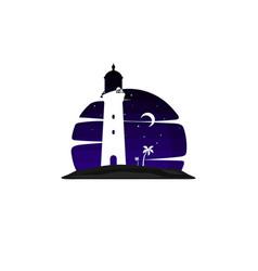 Lighthouse beach island view vector