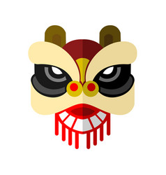 Lion dance head chinese graphic vector