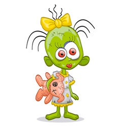 little zombie girl vector image