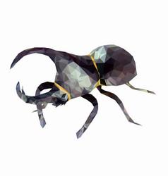 low poly dynastinae or rhinoceros beetles vector image