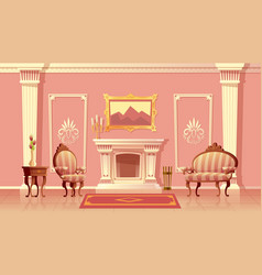 Luxury living room with fireplace vector