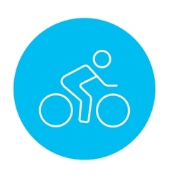 Man riding bike line icon vector image