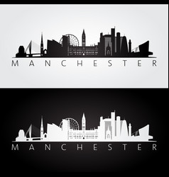 Manchester skyline and landmarks silhouette vector